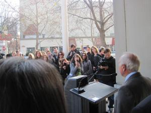Photo of Yvon Chouinard of Patagonia addressing crowd to celebrate Benefit Corporation legislation passage.
